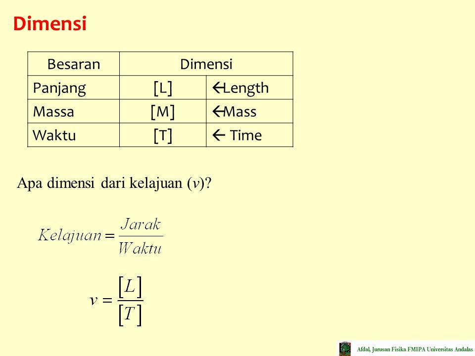 Dimensi Besaran Dimensi Panjang [L] Length Massa [M] Mass Waktu [T]